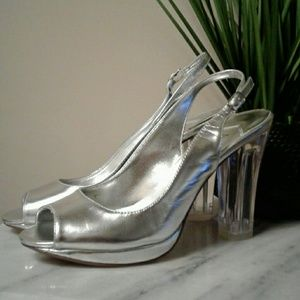 Women's Silver Sling Back With Clear Heels